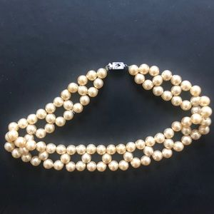 Antique Cross Strung Pearl Choker Necklace